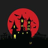 Halloween with castle and pumping color illustration. Halloween with castle and pumping color holiday illustration Royalty Free Stock Images
