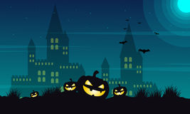 Halloween castle and pumpkin background. Vector illustration Stock Photography