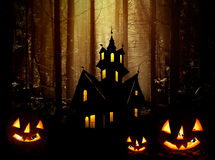 Halloween. Castle and pumpkins. royalty free stock photos
