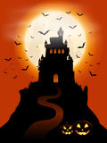 Halloween castle and pumpkins Stock Photography