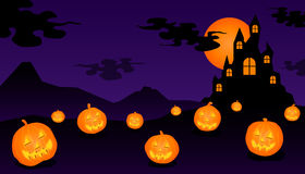 Halloween castle. Halloween pumpkins and black castle Stock Photography