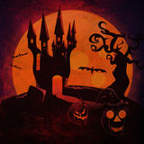 Halloween Castle and pumpkins grunge background Royalty Free Stock Images