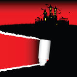 Halloween castle red art vector. Halloween castle vector illustration on a color Royalty Free Stock Photo
