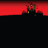 Halloween castle red vector. On dark background Royalty Free Stock Photo