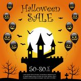 Halloween sale background. Halloween castle and sale text on orange color background Stock Photo