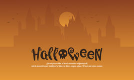 Halloween with castle style background. Vector illustration Stock Photos