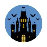 Halloween, castle. Vector illustration. Halloween, silhouette of a fairytale castle. Vector illustration on blue background vector illustration