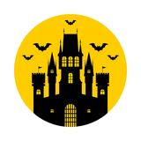 Halloween, castle. Vector illustration. Halloween, silhouette of a fairytale castle. Vector illustration on yellow background royalty free illustration