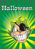Halloween Cat. Halloween Postcard with a terrific green cat, very bad Stock Illustration