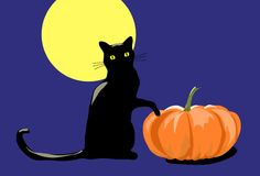 Halloween cat. Silhouete of a black cat sitting at the pumpkin under the full moon Stock Photo