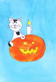 Halloween and cat Royalty Free Stock Photography