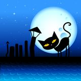 Halloween cat. Vector illustration of a Spooky cat on the roof in the moonlight, and starry sky Stock Images