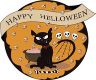 Halloween and cat around which skulls fly stock illustration