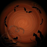 Halloween: cat, bats, pumpkin - decorative composition. Royalty Free Stock Images