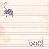 Halloween cat. Boo! Sketch on notebook ruled paper Royalty Free Stock Image