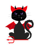 Halloween cat with devil bat wings. Grumpy halloween cat with devil bat wings isolated on white background vector illustration for halloween party invitation Royalty Free Stock Images