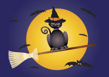 Halloween Cat Flying on Broomstick Illustration. Halloween Black Cat Wearing Witches Hat Flying on Broomstick Illustration royalty free illustration