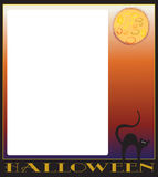 Halloween cat frame. Halloween cat and moon background stock illustration