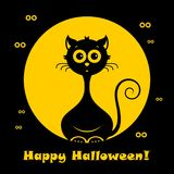Halloween cat. Vector illustration. Halloween cat in modern line style. Vector illustration on a black background stock illustration