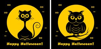 Halloween cat and owl. Vector illustration. Halloween cat and owl icons or logos in modern line style. Vector illustration on a black background royalty free illustration
