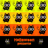 Halloween cat patterns. Three halloween patterns with cats Stock Images