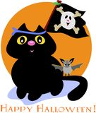 Halloween Cat with Pirate Skull Flag and Bat Stock Photo