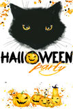 Halloween Cat poster for the holiday with the symbols of the holiday. royalty free illustration