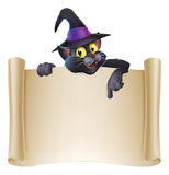 Halloween cat scroll sign. Drawing of Halloween black cat in witch hat above a scroll sign pointing down Stock Image