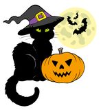 Halloween cat silhouette with Moon Royalty Free Stock Photography