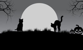 Halloween cat silhouette and moon Stock Photography