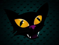 Halloween Cat Vector. Head of Halloween cat on pattern background, vector Stock Photography
