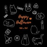 Halloween cat vector set. Hand drawn white chalk on black board doodles isolated on black. Fat cats, pumpkins, hats vector illustration