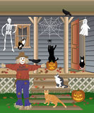 Halloween Cats. Illustration of domestic cats playing with Halloween decorations and crows Royalty Free Stock Photo