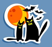 Halloween cats and moon Royalty Free Stock Photo