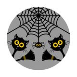 Halloween cats. Vector illustration. Halloween, black cats, spider, broom. Stickers or badges. Vector illustration on a gray background stock illustration