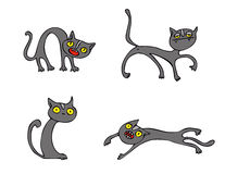 Halloween Cats vector pack. Collection of cartoon vector graphic elements with Halloween motives. These vectors are perfect for Halloween greeting cards and Royalty Free Stock Photos