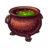 Halloween cauldron with boiling green potion inside, isolated vector illustration Royalty Free Stock Photos