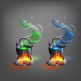 Halloween cauldron with potion. Stock Images