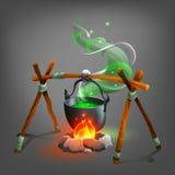 Halloween cauldron with potion. Vector illustration Royalty Free Stock Photo