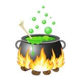 Halloween cauldron vector illustration. Halloween Witch cauldron with green potion isolated on white background. vector illustration for Halloween design Stock Photo