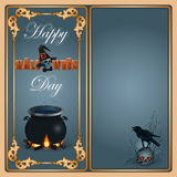 Halloween, celebration background with a magic cauldron. And raven on top of skull Royalty Free Stock Image
