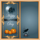 Halloween, celebration background. With a pumpkins, haunted castle and raven on top of skull Stock Photography