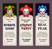 Halloween celebration event banners with scary clown faces. Creepy party invitation tickets set. Vector scary night flyers design stock illustration