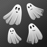 Halloween celebration. Set of ghost characters with different face expressions  on transparent checkered background. Translucent haunteds. Vector illustration Stock Images