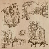 Halloween, Cemeteries - An hand drawn vector pack Royalty Free Stock Images
