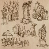 Halloween, Cemeteries - An hand drawn vector pack Stock Photography