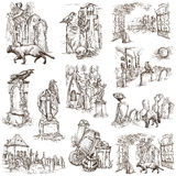 Halloween, Cemeteries - An hand drawn white pack Stock Image