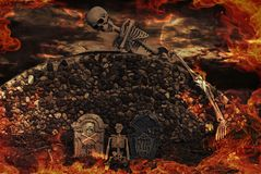 Halloween Cemetery. Tombstones and skeletons in flames Royalty Free Stock Photo