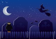 Halloween Cemetery. Old cemetery with graves, own, bats and witch Royalty Free Stock Photos