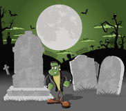 Halloween cemetery with frankenstein Royalty Free Stock Image